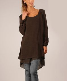 Another great find on #zulily! Chocolate Split-Back Tunic by La Fille du Couturier #zulilyfinds