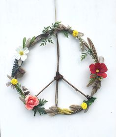 Boho Hippie Wildflowers + Feathers Wooden Peace Sign Wreath
