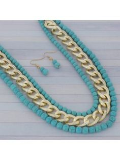 Turquoise Bead and Textured Goldtone Chain Necklace and Earring Set