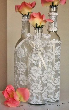 SET3 Decorated Wine Bottle Centerpiece Ivory by DazzlingGRACE: