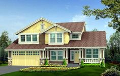 Elevation of Craftsman   House Plan 87509