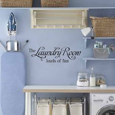 Laundry Room Decal Wall Decal Vinyl Lettering Wall by LaLeni, $10.00 (The decal is fabulous, and I love the periwinkle!