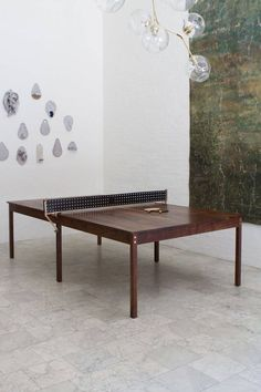Wooden And Leather Ping Pong Table