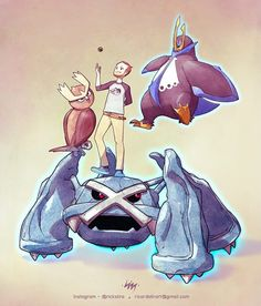 Hudson Bilbrey and his Pokémon buddies, Noctowl, Empoleon and Metagross. Order for the trainer The waiting list for Pokemon Oc, Pokemon Snorlax, Pokemon Poster, Pokemon Pins, Pokemon Fan Art, Cool Pokemon, Game Character, Character Design, Pokemon Stories