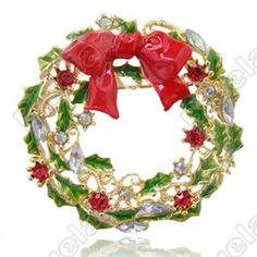 Discount China china wholesale Christmas Gift Lovely Crystal Christmas Wreath Brooch Pin 5723 [5723] - US$5.45 : DealsChic