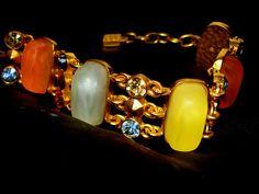 Karl Lagerfeld for Chanel lozenge stone set bracelet with swarovsky crystal inset brilliants