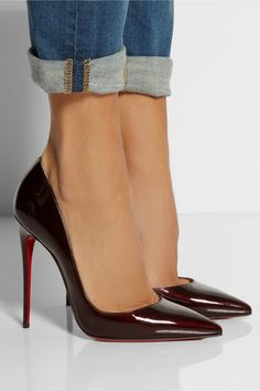 Christian Louboutin So Kate 120 Burgundy Patent Leather Pumps