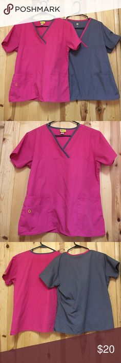 Wonderwink 2 Top BUNDLE Medium EUC Wonderwink Scrub Tops Medium Excellent Used Condition with Two front pockets o e is a double pocket Pink/Gray and Gray/Pink These tops are also in the 4 Top bundle Wonderwink Tops