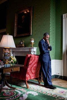 """"""" President Barack Obama waits in the Green Room before being introduced at the White House Summit on Community Colleges, Oct. 5, 2010."""