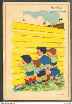 KH044 A/s KL LINKS 4 Garçon Indiscrets FOUR BOYS Looking Through A PALISADE - Illustrateurs & Photographes