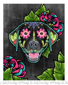 Labrador Retriever in Black - Day of the Dead Sugar Skull Dog Art Print by Pretty In Ink Jewelry