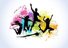 Jumping people set against spray paint elements. Jumping people set against spray paint elements. Dancing Drawings, Art Drawings, Instructor De Zumba, Festival Paint, Dance Logo, School Murals, Flower Phone Wallpaper, Arte Popular, Chalk Art