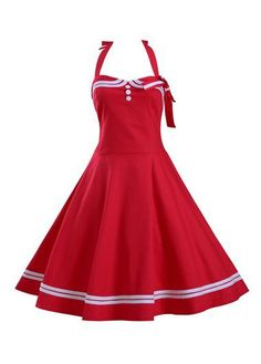 Vintage Sailor Nautical 50s Style Red Halter Swing Dress