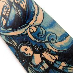 Blue Leather Bookmark - Shakespeare the Tempest - Miranda storm via Etsy