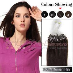 24 Inch 100s 1g/s Micro Loop Ring Premium Remy Human Hair Extensions (#2 Darkest Brown)