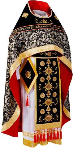 Black priest vestment, $1,570.00, Sombre colored Lenten vestment decorated with…