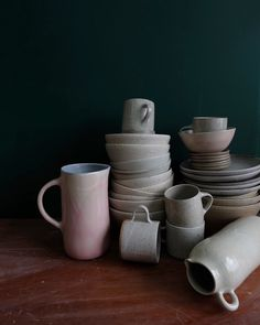 collection of wheel-thrown ceramic wares to add to your own home collection. subtle color palette in warm grey, blush, beige and vanilla beans. Warm Grey, Home Collections, Own Home, Vanilla Beans, Shapes, Ceramics, Mugs, Tableware, Palette