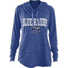 Stay looking cute and spirited for the Blue Raiders in this hooded long sleeve shirt! #MTSU #blueraiders #textbookbrokers