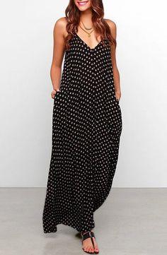Bohemian Style Strappy Baggy Polka Dot Maxi Dress For Women