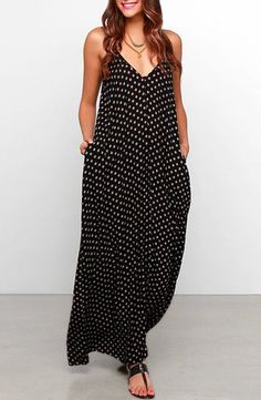 Bohemian Style Strappy Baggy Polka Dot Maxi Dress For Women