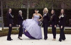 wedding dress fantasy - lilac gown and bridesmaids in suits.