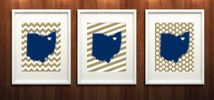 Akron Ohio State Set of Three Giclée Prints  8x10  by PaintedPost, $37.00 #paintedpoststudio - University of Akron - Zips- What a great and memorable gift for graduation, sorority, hostess, and best friend gifts! Also perfect for dorm decor! :)