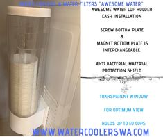 AWESOME WATER CUP HOLDER SHORT CUP DISPENSER EASY INSTALLATION SCREW BOTTOM PLATE & MAGNET BOTTOM PLATE IS INTERCHANGEABLE. ANTI BACTERIAL MATERIAL PROTECTION SHIELD TRANSPARENT WINDOW FOR OPTIMUM VIEW HOLDS UP TO 50 CUPS Double Swing, Water Coolers, Hold On, Cups, Plate, Window, Awesome, Easy, Mugs