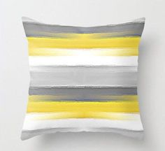 Yellow Grey Pillow, Throw Pillow Covers, Decorative Pillow Covers, Home Decor, Abstract stripe, Lumbar, square, euro, Cushion Cover