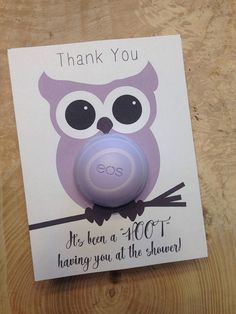 Owl themed baby shower EOS lip balm party favor purple