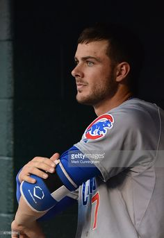 Kris Bryant of the Chicago Cubs looks on from the dugout during the. Kris Bryant of the Chicago Cubs looks on from the dugout during the game against the Detroit Tigers at Comerica Park on June 2015 in Detroit, Michigan. The Tigers defeated the Cubs 6 Chicago Cubs Baseball, Baseball Boys, Tigers Baseball, Baseball Pants, Baseball Players, Espn Baseball, Wsu Basketball, Baseball Tickets, Basketball Shooting