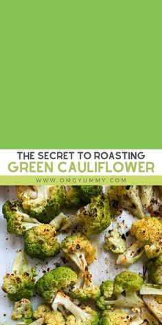 Roasting green cauliflower (or any color) is such a delicious way to prepare this cruciferous vegetable. Just a bit of o Green Cauliflower Recipe, Cauliflower Vegetable, How To Cook Cauliflower, Cauliflower Dishes, Roasted Cauliflower, Healthy Vegetable Recipes, Vegetable Side Dishes, How To Cook Greens, Vegan Keto