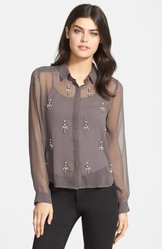 Chelsea28 Embellished Sheer Shirt available at #Nordstrom $98 marked down to $58
