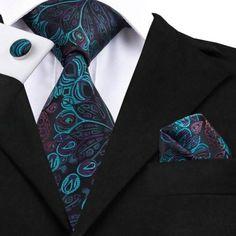 Men's Silk Coordinated Tie Set - Peacock Blue – Uylee's Boutique Tie And Pocket Square, Pocket Squares, Novelty Ties, Mens Silk Ties, Men Ties, Vogue Men, Paisley Tie, Cufflink Set, Men Formal