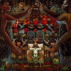 John Biggers, Untitled   In this highly symbolic painting, three generations of a Southern black family emerge from a pool of water, a reference to both ritual purification and the primordial beginnings of life. Flanked by monumental female figures -- symbolic perhaps of maternal Africa -- this community stands together facing the dawn.