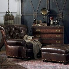 sitting area - leather, nail heads, cozy...  And 21 Cool Tips To Steampunk Your…