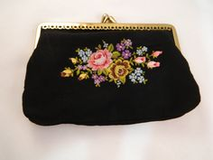 Black Floral Embroidered Vintage Change by VintageBaublesnBits, $10.00