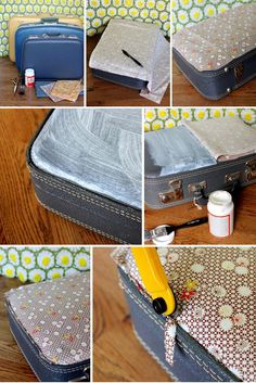 Fabric-covered suitcase