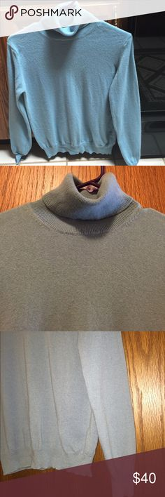 "Sutton Studio Cashmere Sweater From Bloomingdales. Excellent condition. 100% cashmere. Thick and soft. Long sleeve turtleneck. Kind of a blue/green color. First picture is closest to the color. Banded sleeves and bottom edge. Not from a smoke free house. Dry clean or hand wash only. 16.5"" armpit to armpit. 15"" long from armpit. Sutton Studio Sweaters Cowl & Turtlenecks"