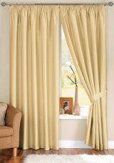Java Faux Silk Cream Pencil Pleat Curtains (with tiebacks)