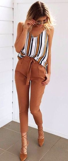 #fall #outfits women's white, red, and black stripe V-neck sleeveless brown pants