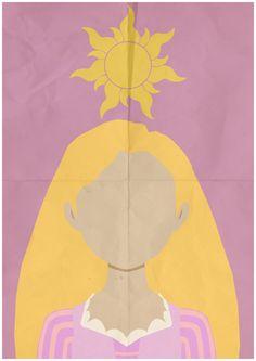 Tangled Rapunzel Minimalist Retro Poster Movie by CultClassix