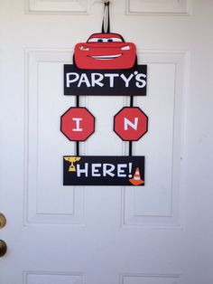Cars Lighting McQueen Door Birthday Sign Banner  by TheGirlNXTdoor