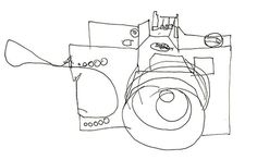 Blind Contour Drawing of a Film Camera - Drawing Blind Contour Drawing, Camera Drawing, Contour Drawings, Cool Drawings, Drawing Sketches, Sketching, Sketchbook Assignments, Art Assignments, Single Line Drawing