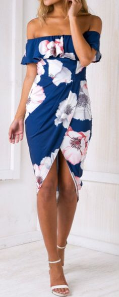 off Shoulder Ruffle Floral Printed Irregular Bodycon Dress