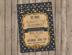 Anchor, Nautical wedding invitation, Save the the Date, Digital file, Printable on Etsy, $13.00