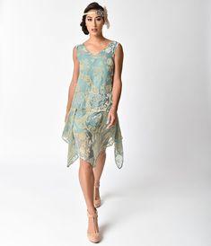 Charleston kleid grun