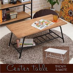 アンティークセンターテーブルローテーブル木製リビングテーブルパイプテーブルアンティーク調桐木製アイアン天然木収納付シンプルブラウンホワイトレトロ調