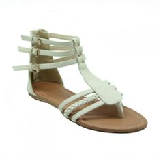 Sandalup Cathy Back Counter Strappy Braid Buckles Roman Gladiator Sandals Flat Shoes White