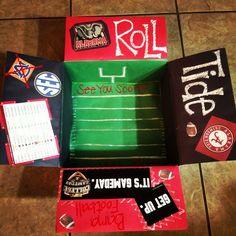 Alabama football themed care package I made for my hubby! #military #carepackage #alabama #football
