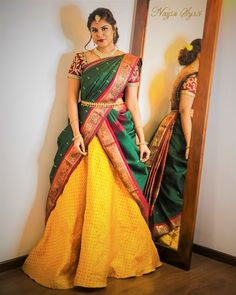 SUNDARI A coalescence of traditional and modern trends brought together to portray the Present day Tam-Brahm Bride.do Photography: Ambigraphyofficial Jewellery: Madhura Boutique . Lehenga Saree Design, Lehenga Style Saree, Lehanga Saree, Lehnga Dress, Saree Look, Lehenga Designs, Saree Blouse, Half Saree Designs, Blouse Designs Silk